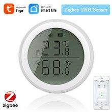 Tuya Smart Zigbee inteligentny czujnik temperatury i wilgotności z wyświetlacz LED zasilanie bateryjne dla Zigebee Smart Home Securuty