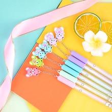 36 pcs/lot Kawaii Bear Pendant Erasable Gel Pen Cute 0.5mm Signature Pens Promotional Gift Office School Supplies