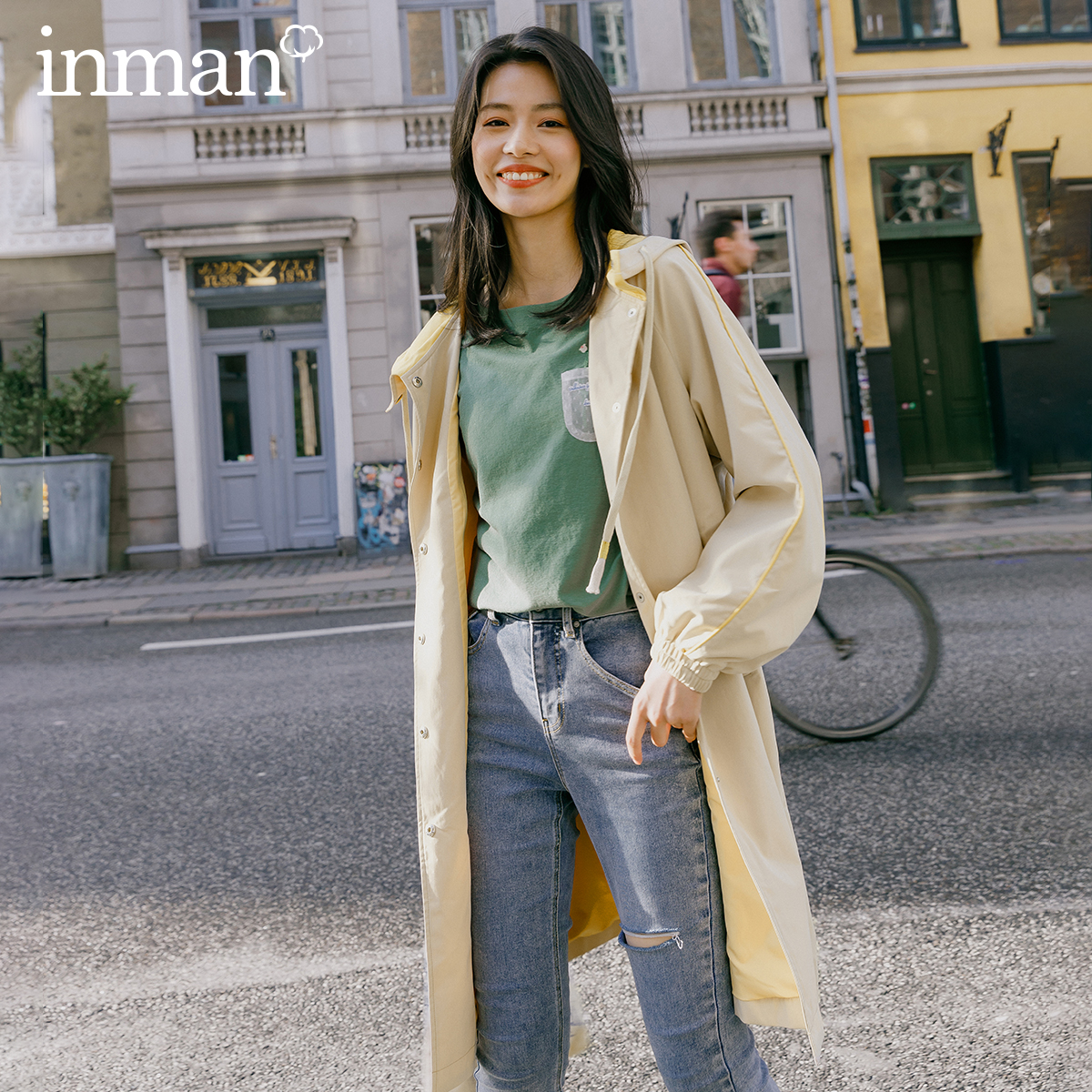 INMAN 2020 Spring New Arrival Candy Color Clash Color Single Breasted Hooded Lantern Sleeve Long Sleeve Woman Trench Coat