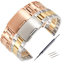 Stainless Steel Strap18mm 20mm 22mm 24mm 26mm 28mm 30mm Metal Watch Band Link Bracelet Watchband Black Silver Rose Gold