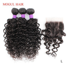 Mogul Hair Closure Water-Wave 3-Bundles Remy Brazilian with 200g/Set Natural-Black 18inch