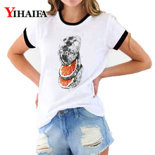 3D T Shirts Women Vintage Painted Orange Print Tees Fruit Graphic Summer Short Sleeve Ladies Funny Casual Tops