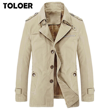 Brand New Men Trench Coats Winter Fashion Thick Warm Men's Medium Long Section Trench Male Casual  Solid Windbreaker Jacket 5XL 1