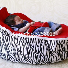 Sofa-Beds Beanbag Zebra-Base Red-Top-Cover Kids Infant with Deep-Sleeping-Snuggle Pods
