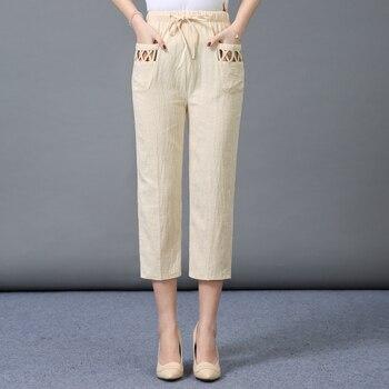 Woman Spring Cotton Linen Pants Female Summer Casual Thin 3/4 Trousers Women Elastic Waist Capris Pants Plus Size 4XL Pants & Capris