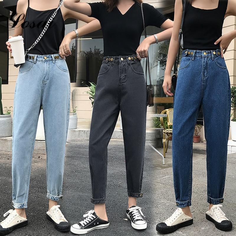 2019 High Waist Plus Size Boyfriend Jeans For Women Mom Jeans Vintage Ankle Length Denim Jeans Harem Pants