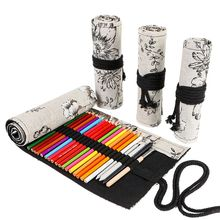 Peony 12/24/36/48/72 Holes Canvas Roll Pen Curtain Pencil Bag Case Makeup Wrap Holder Storage Pouch School Supplies
