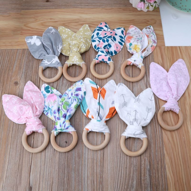 Baby Boy Girl Bunny Ear Teether Safe Organic Wood Teething Ring Toys Various Color Choice Shower Gift