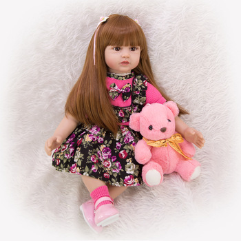 60CM Reborn Baby Doll Menina Silicone Princess Doll Lifelike bebe reborn toddler Long Hair Realistic Baby Toy Gift
