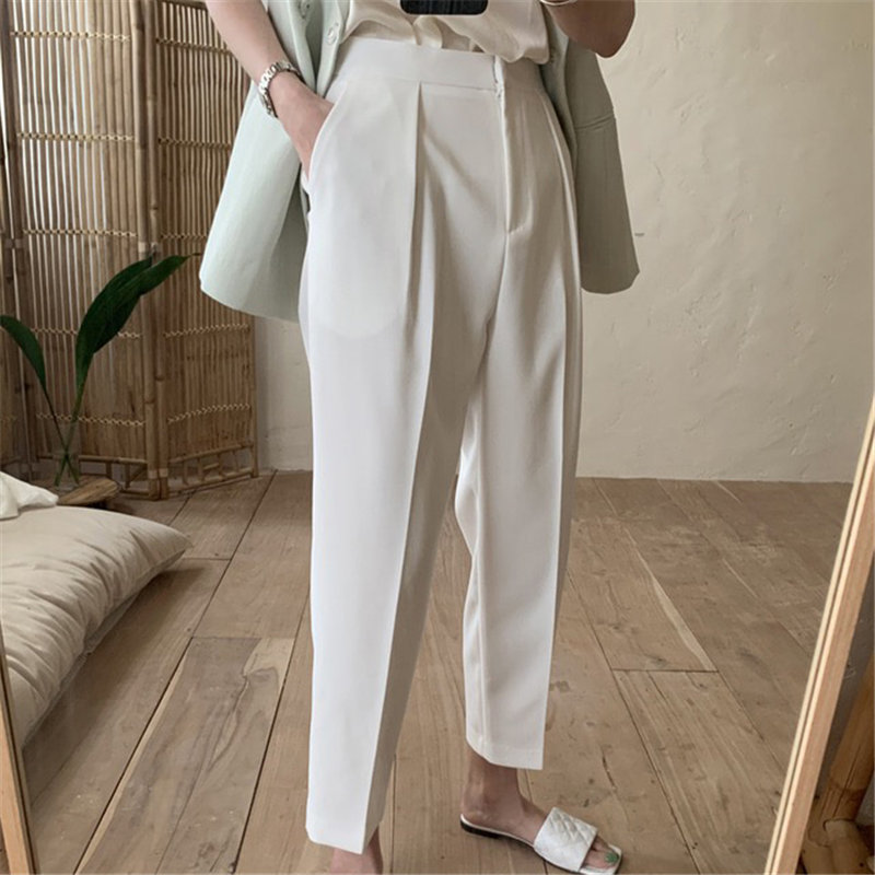 HziriP Vintage Casual Straight Loose Chic Fashion OL 2020 Women Solid Minimalist High Waist Large Size Hot Ankle Length Pants