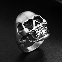 Gothic Punk Men Stainless Steel Ring Matte Vintage Hip Hop Skull Rings For Steampunk Jewelry Accessories