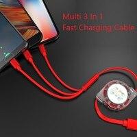 Versenkbare 3 In 1 USB Ladekabel für iPhone & Micro USB & USB C Kabel Tragbare 3A Schnelle Lade kabel Für Iphone Samsung