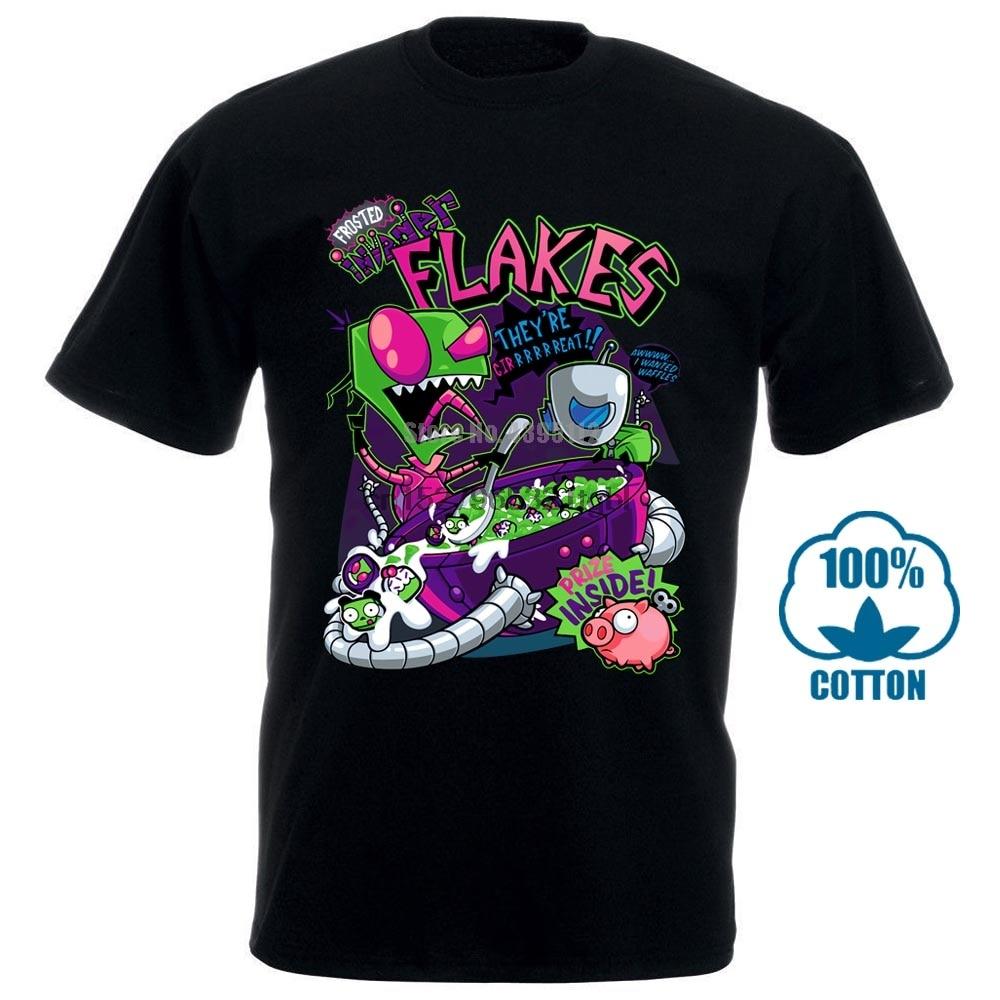100% Cotton O Neck Custom Printed Tshirt Men T Shirt Invader Flakes Invader Zim Women T Shirt