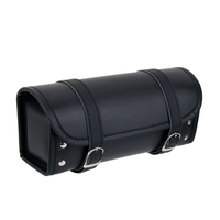 Black Motorcycle Pannier Waterproof Saddle Bag PU Leather Roll Tool Pouch