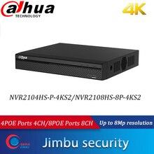 Dahua-enregistreur vidéo en NVR POE NVR2108HS-8P-4KS2 8POE, 8CH NVR2104HS-P-4KS2, 4POE h265, résolution jusqu'à 8mp, P2P, 80Mbps Max