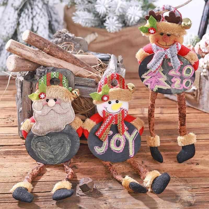 Feliz Navidad pizarra muñeca hogar Decoración fiesta con patas colgante decoración creativa ventana