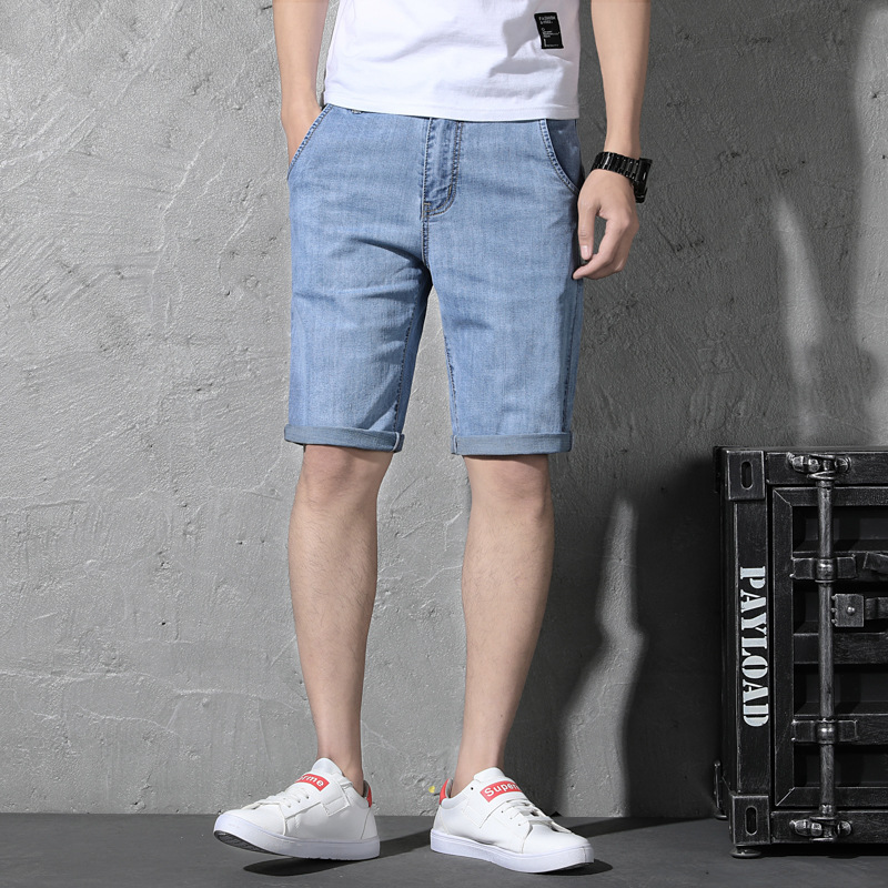 Summer Denim Shorts Male Fifth Pants Trend Loose-Fit MEN'S Middle Pants 5 Points With Holes Breeches Large Size Casual 605