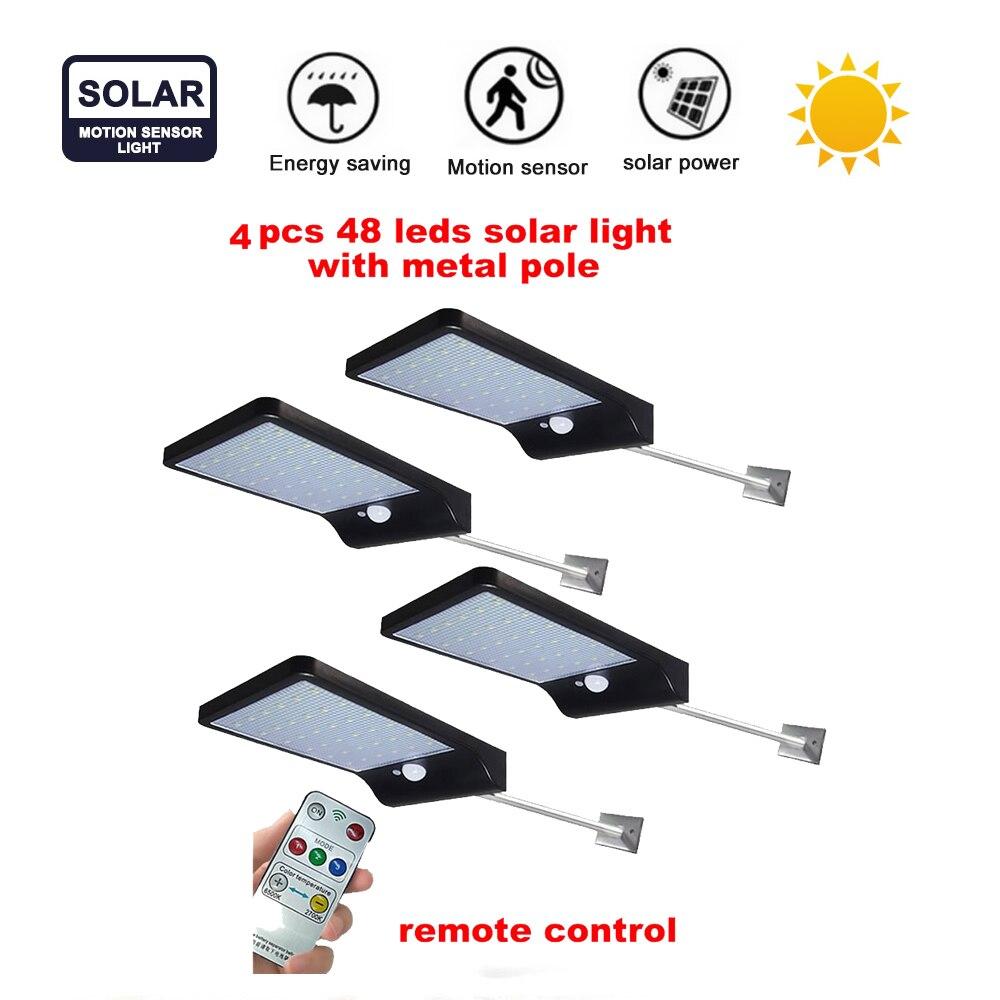 2/4pcs Stainless Steel 48 LED Solar Light Waterproof Outdoor Solar Power Garden Light Energy Saving Courtyard Pathway Solar Led
