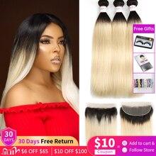 Cheveux humains brésiliens Remy 3 paquets avec fermeture à lacets euphorie frontale Ombre Blonde avec miel Frontal 1B 613