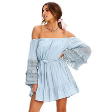 New Sexy Dress Women Autumn Word Collar Fringed Long Sleeve Female Dresses Party Night Club 2019 Clothes