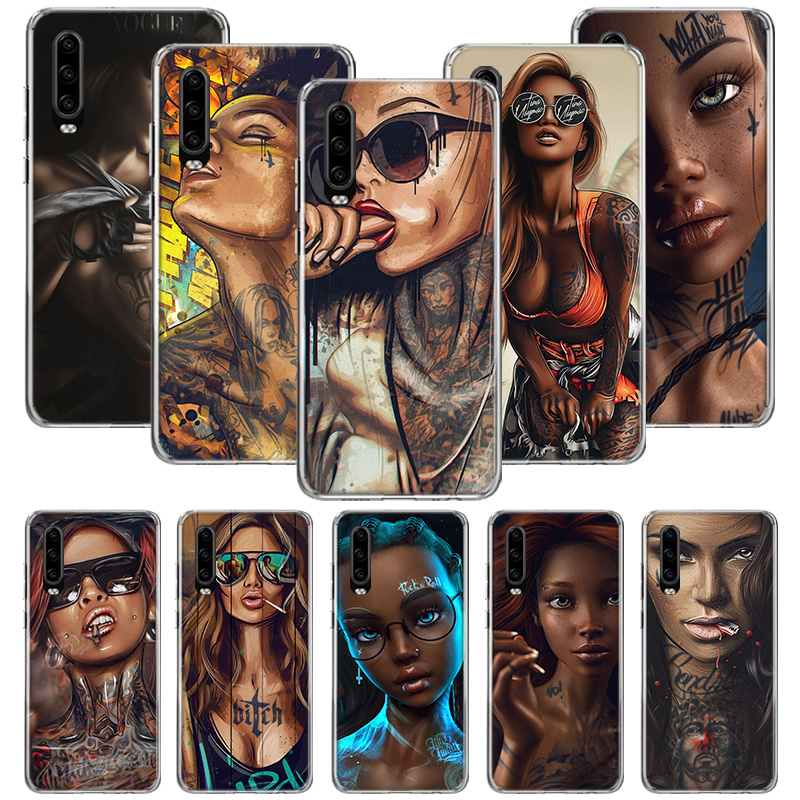 <font><b>Sexy</b></font> Sleeve Tattoo Girl Case for <font><b>Huawei</b></font> P20 P30 P Smart Z Plus 2019 P10 <font><b>Mate</b></font> 30 <font><b>10</b></font> 20 Lite <font><b>Pro</b></font> Silicone Sac Phone Coque <font><b>Cover</b></font> image