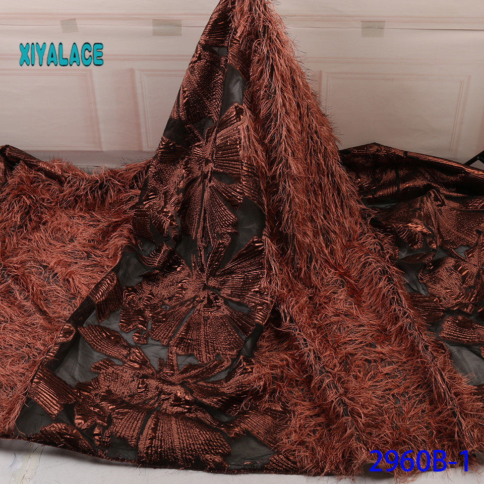 African Lace Fabric 2019 Quality Lace French Lace Fabric Nigeria 3 D Horsetail Swiss Lace Fabric For Party Dress YA2960B-1