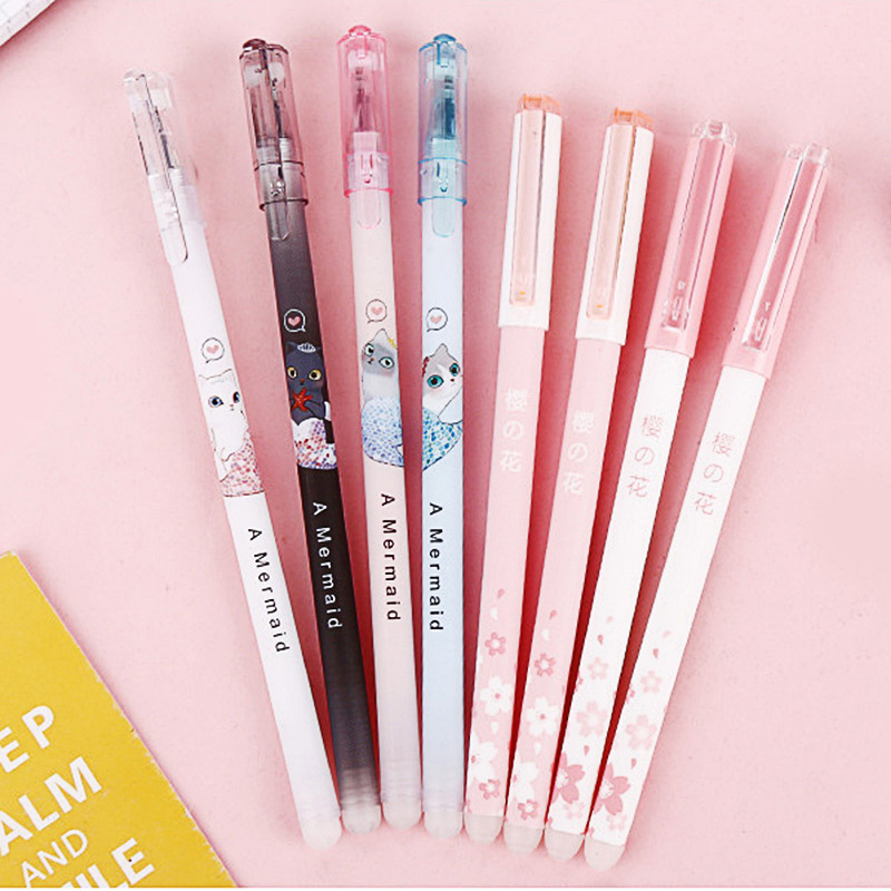 1PC Cute Erasable Pen Kawaii Mermaid Pens 0.5mm Creative Cat Gel Pens For Kids Girls Gifts School Office Supplies Stationery