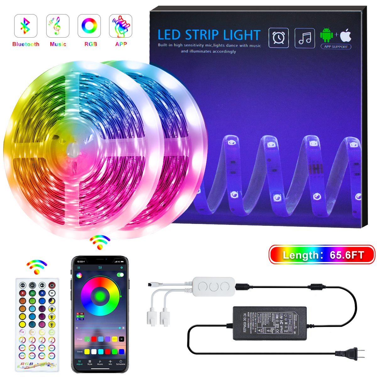 Bluetooth <font><b>LED</b></font> Strip Light SMD 5050 IP20 RGB Strip <font><b>LED</b></font> Light Flexible Ribbon <font><b>Stripe</b></font> DC <font><b>24V</b></font> RGB Diode Tape IR Controller Adapter image