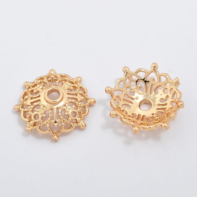 20 pçs/set 15*15mm Flores Forma Hipoalergênico Ouro Real Oco Filigrana de Cobre Beads Para DIY Montagem
