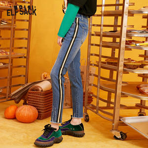 Image 2 - ELFSACK Blue Solid Washed Straight Casual Pencil Jeans Woman 2019 Winter Plaid Patchwork Skinny Office Ladies Basic Daily Pants