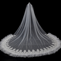JaneVini New Fashion One Layer Ivory Wedding Veils 5M Long Lace Applique Edge Sequins Soft Tulle Bridal Veil Wedding Accessories