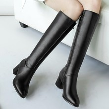 knee high boots for thin legs long boots Women #8217 s Winter Warm Boots Side Zip Round Toe Square High Heels Knee High Booties #D cheap ONTO-MATO Mid-Calf zipper Solid Square heel Basic Short Plush Pointed Toe Fabric Rubber Med (3cm-5cm) 0-3cm Fits true to size take your normal size