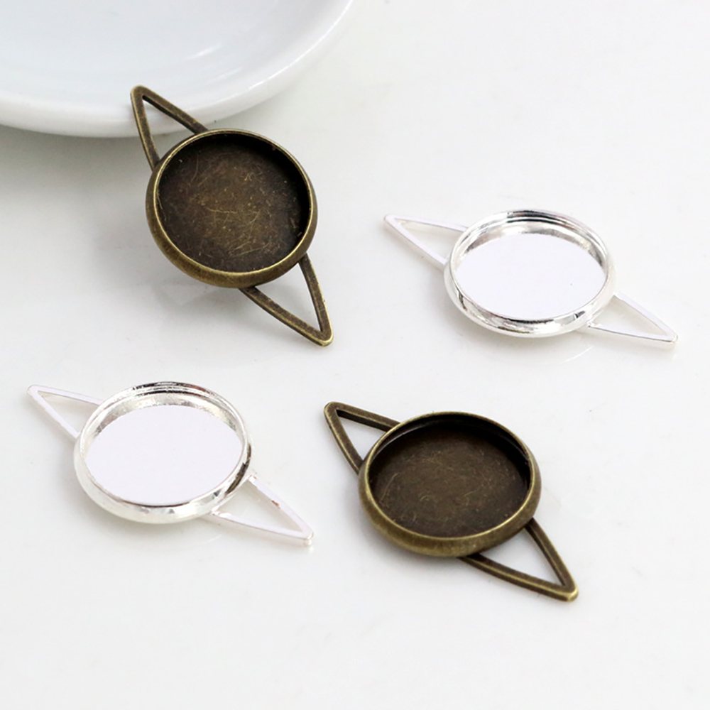 20pcs 12mm Inner Size Bronze Silver Color Plated Simple Style Brass MaterialCabochon Base Cameo Setting Charms Pendant Tray