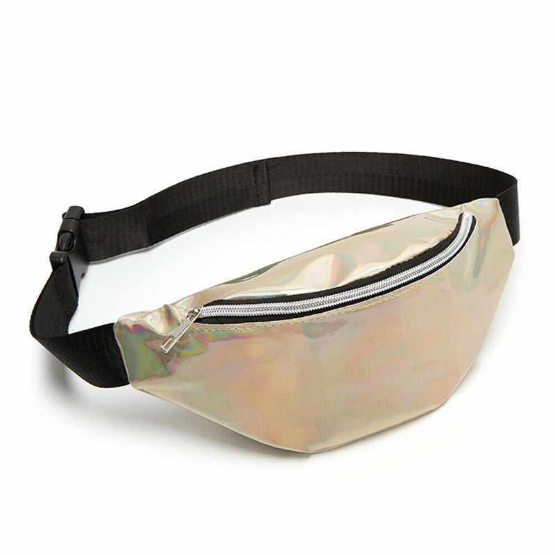 2019 Holografik Kadın fanny paketi bel çantası Parlak Neon Lazer Hologram Bel Çantaları seyahat omuz çantası Parti Rave Kalça bel çantası