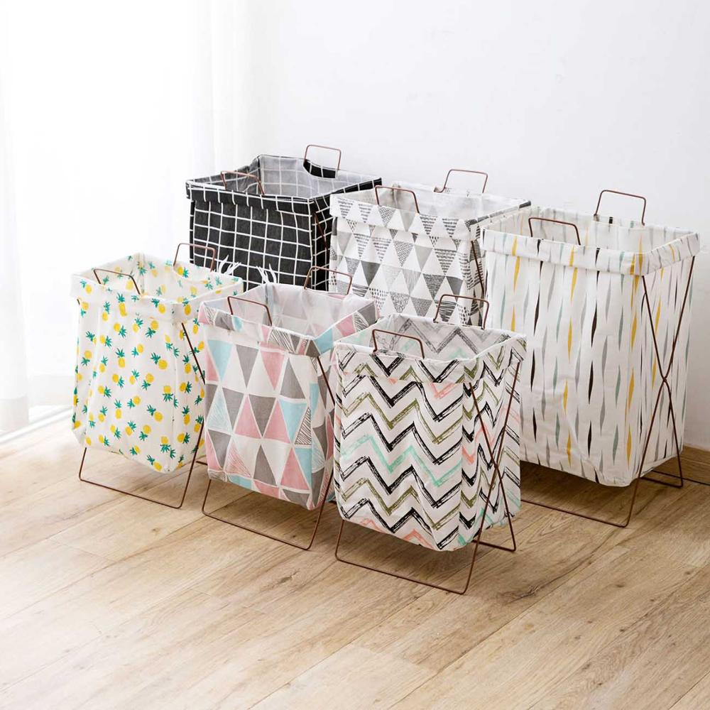 Cotton Linen Folding Laundry Basket Clothes Hamper Laundry Bag Toy Sundries Storage Box Laundry Hamper with Iron Stand