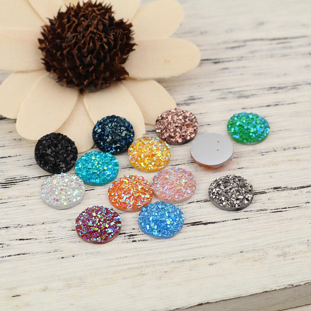 DoreenBeads Fashion Resin Druzy/ Drusy Dome Seals Cabochon Round Rose Gold Jewelry DIY Findings Charms 12mm( 4/8