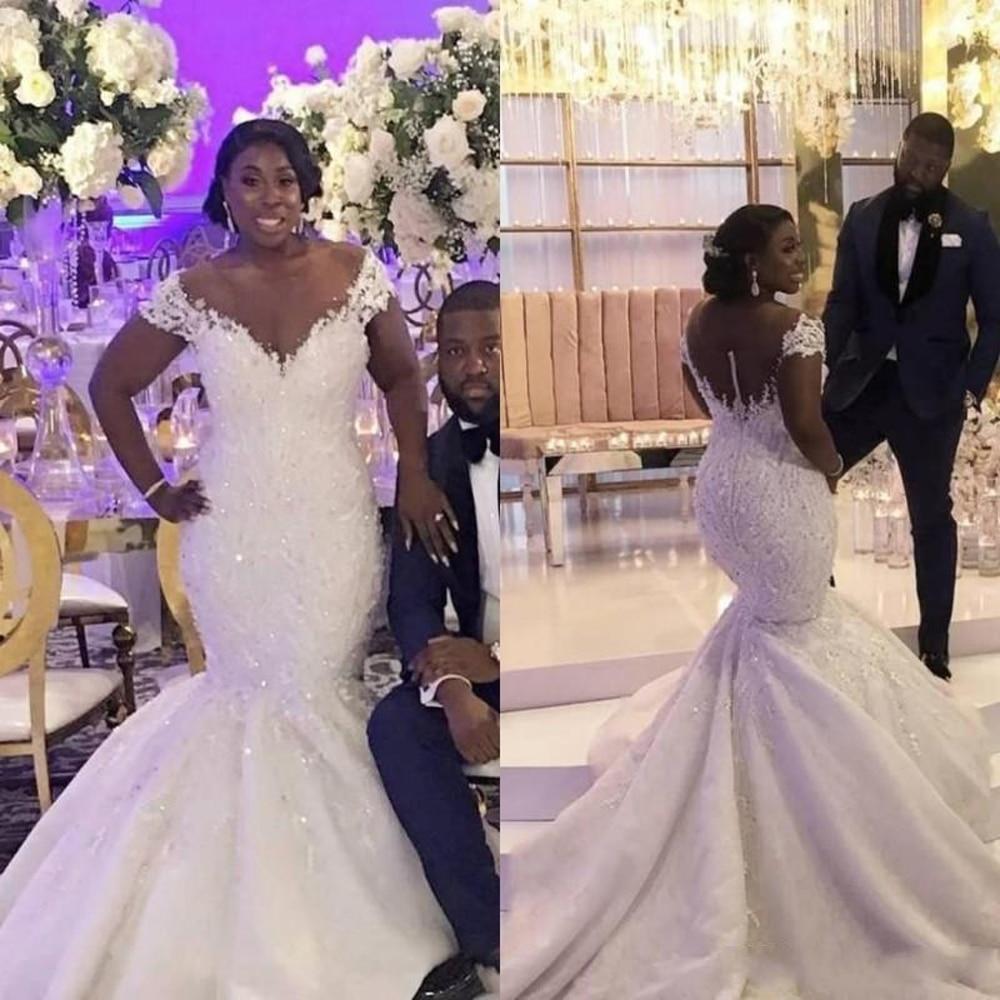 African Bride Mermaid Wedding Dresses 2020 Off Shoulder Lace V-Neck Long Train Bridal Gowns Vestidos De Novia
