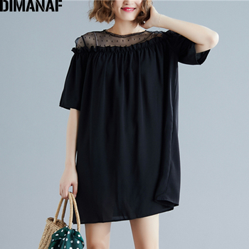 DIMANAF Summer Plus Size Women Blouse Shirts Lace Spliced Elegant Sexy Lady Tops Casual Loose Oversize Sundress Solid Black 2020 цена 2017