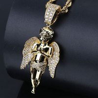 Hip hop Jesus hands folded angel pendant micro pave zircon hip hop punk ice out men's necklace jewelry