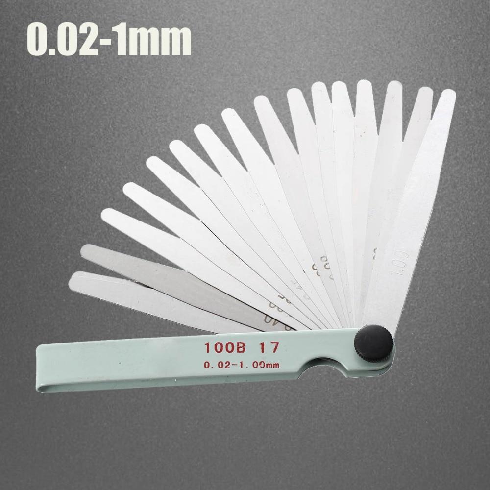 17 Blades Feeler Gauge Metric Gap Filler 0.02-1.00mm Gage Measurment Tool For Engine Valve Adjustment