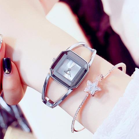 Relógio de Moda Relógios à Prova Kimio Marca Feminina Pulseira Senhoras Quadrado Pequeno Dial Dwaterproof Água Aço Inoxidável Oco Relógios Montre Femme