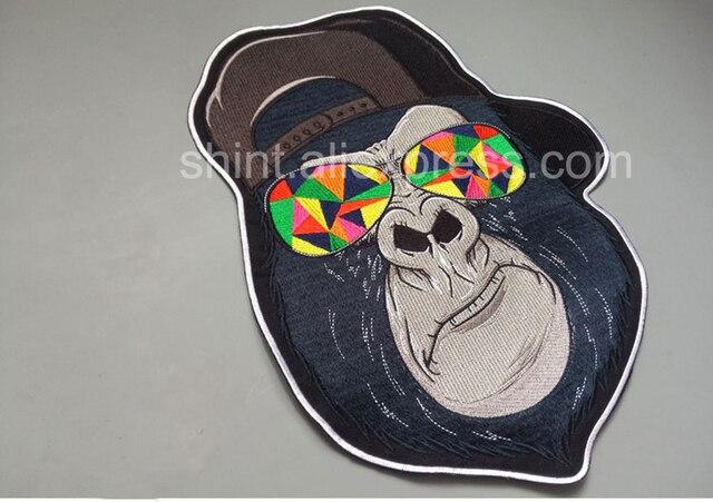 Animal loup solitaire gorille tigre rugissant ours grandes patchs de broderie pour veste gilet arrière Biker Punk accessoires coudre sur