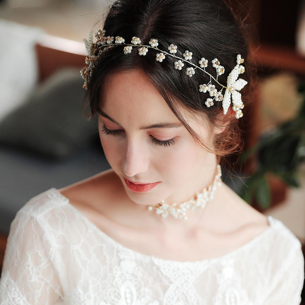 Bridal Headwear Luxury Crystal Beads Bridal Headband Rhinestone Wedding Headdress Accessories Hair Brides Headpiece TS110