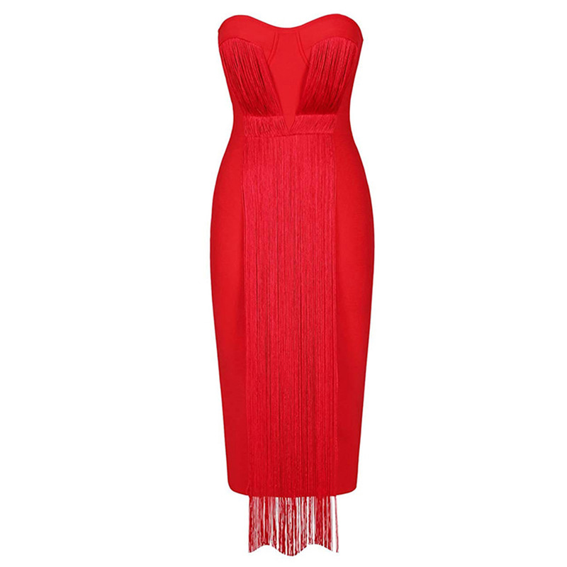 Tassel Women Bandage Dress 2020 New Arrival Strapless Party Club Celebrity Sexy Summer Dresses New Bodycon Ladies Clothes