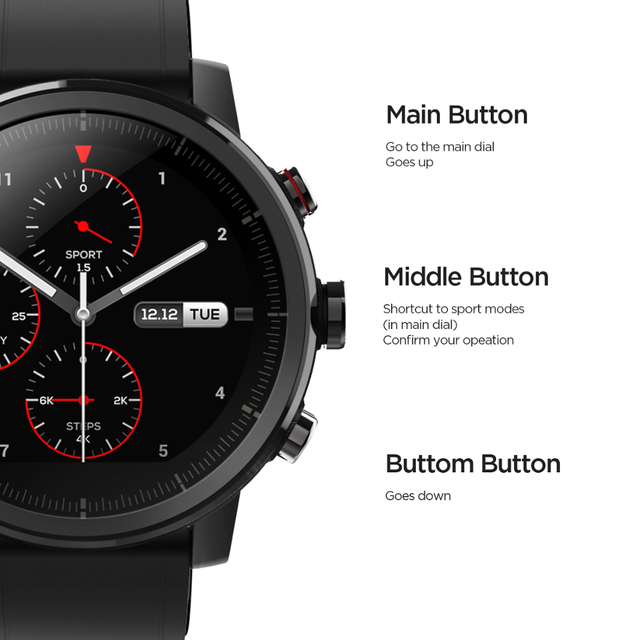 Original Amazfit Stratos Smartwatch Smart Watch GPS Calorie Count 50M Waterproof for Android iOS Phone 5