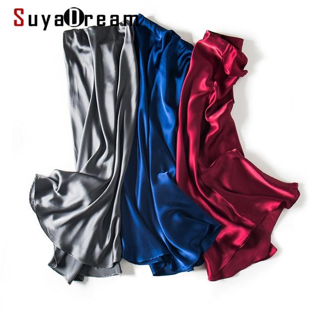 $ US $47.39 SuyaDream 100% Silk Satin Mermaid Skirt Woman 2020 Summer Long Skirts Solid Elegant Office Skirt