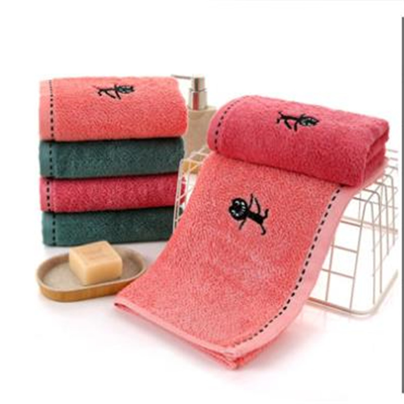 Bamboo Fiber Towel Gift Custom Embroidery Home Daily Dropping Water Washs A Face Cloth 0047