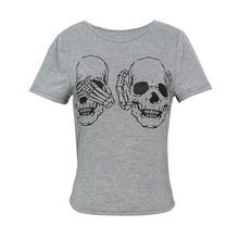 Skull Printed Women Tops for Summer 2019 Casual Funny Shirts Hippie Punk Blue T-Shirts
