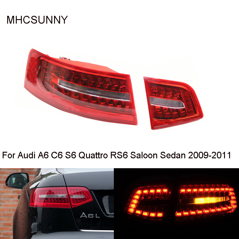 Inner Outer Tail Light For Audi A6 C6 S6 Quattro RS6 Saloon Sedan 2009-2011 LED Tail Lamp Assembly 4F5945095J 4F5945096J