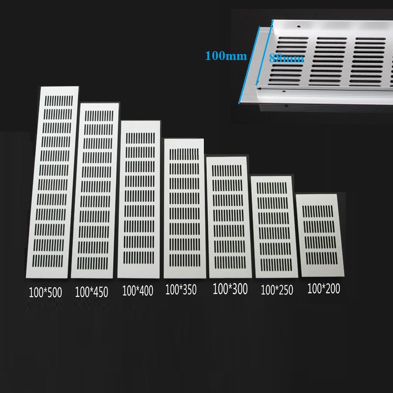 4Pcs 100MM Wide Rectangle Aluminum Air Vent Ventilation Grille Cover Closet Shoe Cabinet Air Conditioner